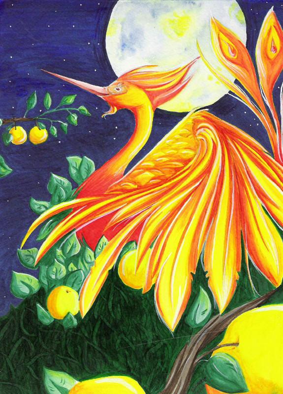 Der Feuervogel inmitten goldener Äpfel