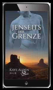 """Cover zu """"NuR 5 - Jenseits der Grenze"""" - Sonnenuntergang hinter den roten Felstürmen einer trockenen Landschaft, ein Männertorso halb durchscheinend im Himmel"""